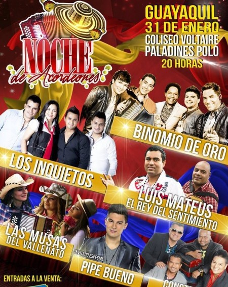 Noche de Acordeones Guayaquil @ Coliseo Voltaire Paladines Polo | Guayaquil | Guayas | Ecuador