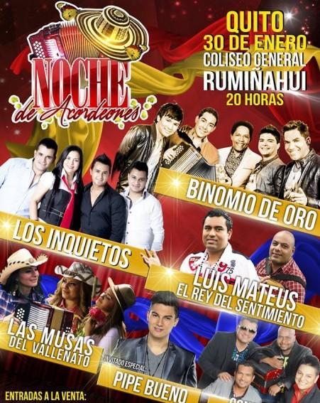 Noche de Acordeones Quito @ Coliseo Ruminhui | Quito | Pichincha | Ecuador